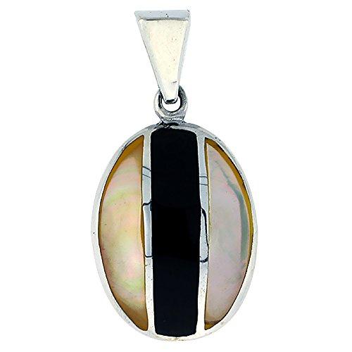 Oval Black Shell Pendant - 6