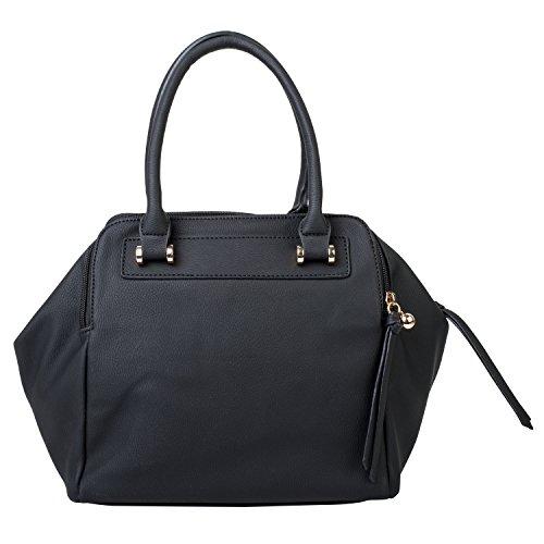 Dot Dash Satchel Medium Sized PU Leather HandBag Purse with Removable Crossbody Strap (Martina Black)