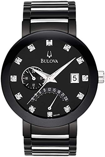 Bulova Diamond Black Dial - Bulova Men's 98D109XG Quartz Diamond Markers Black Bracelet 40mm Watch (Renewed)
