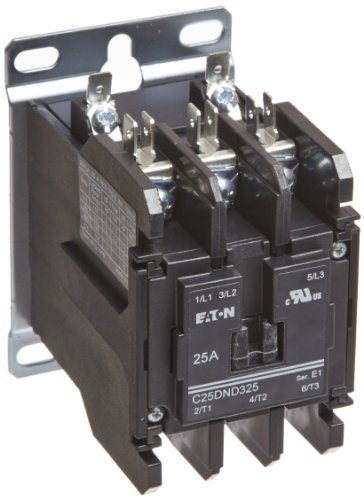 Coil Single Pole 480vac Contactor (Eaton C25DND325A Definite Purpose Contactor, 50mm, 3 Poles, Screw/Pressure Plate, Quick Connect Side By Side Terminals, 25A Current Rating, 2 Max HP Single Phase at 115V, 7.5 Max HP Three Phase at 230V, 10 Max HP Three Phase at 480V, 120VAC Coil Voltage)