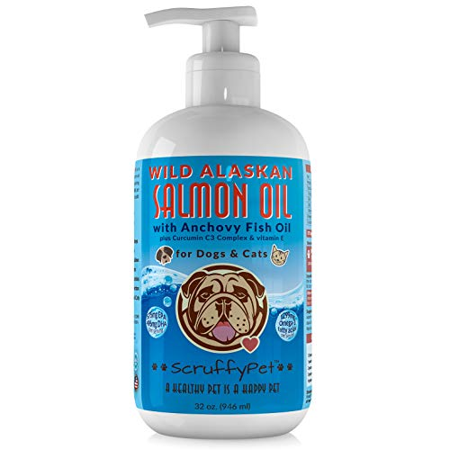ScruffyPet Fish Oil for Dogs and Cats 32 oz Pump Bottle, Super Omega 3 Pet Supplement - Wild Alaskan Salmon Oil - Icelandic Fish Oil - Curcumaine C3 - Vitamin E. by ScruffyPet