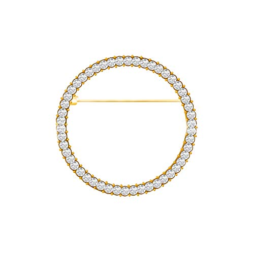 Elegant Geometry Circles Rhinestones Brooch for Women Girl Shawl Scarf Buckle Jewelry Men Suit Brooch Pins (Gold) ()