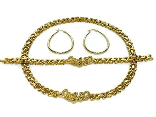 """Womens 14K Gold Tone Hugs & Kisses I LOVE YOU Necklace Bracelet Set Stainless Steel With Hoop Earrings 18"""""""