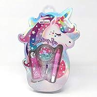 Hot Focus Sparkling Lips, Unicorn - 1 Glitter Lip Gloss Palette, 1 Lip Crayon, 1 Glitter Lip Gloss, 1 Brush Makeup Kit, Silver/Aqua/Pink