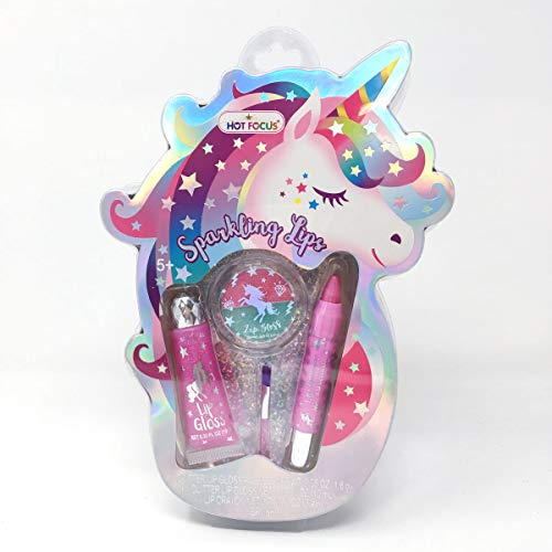 Hot Focus Sparkling Lips, Unicorn – 1 Glitter Lip Gloss Palette, 1 Lip Crayon, 1 Glitter Lip Gloss, 1 Brush. Makeup Kit for Kids/Girls. Perfect for Any Occasion