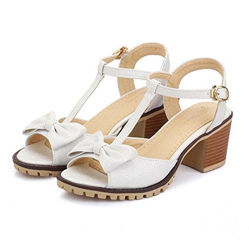 AllhqFashion Hebilla Puntera Abierta Tacón ancho Sólido Sandalias de vestir con Lazos Blanco