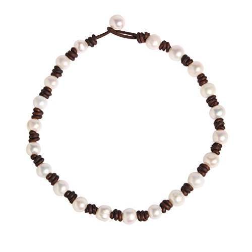 White Knotted Leather (Bonnie Simulated Pearl Choker Necklace Genuine Leather Handmade Brown Leather Cord for Women)