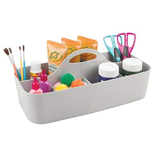 - mDesign Plastic Portable Craft Storage Organizer Caddy Tote, Divided Basket Bin with Handle for Craft, Sewing, Art Supplies - Holds Paint Brushes, Colored Pencils, Stickers, Glue, X-Large - Light Gray