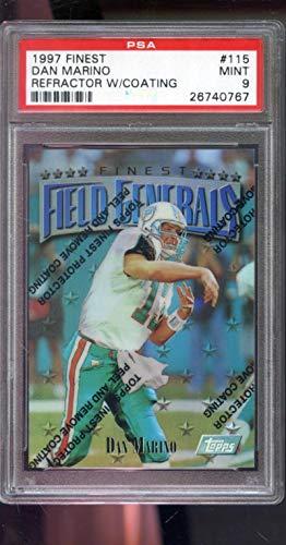 (1997 Topps Finest REFRACTOR #115 Field Generals Dan Marino Insert MINT PSA 9 Graded NFL Football Card)