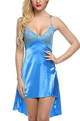 Avidlove Women Lingeire Satin Nightshirts Lace Chemises Irregular Outfits