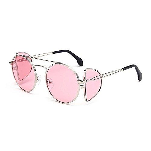 sol mujeres marco clásicos para con UV de metal gafas sol protección de gafas de de sol prueba sol unisex personalidad viento redondo hombres ro A para de Rosado punk estilo borde sol gafas gafas de de gafas gw47qvn
