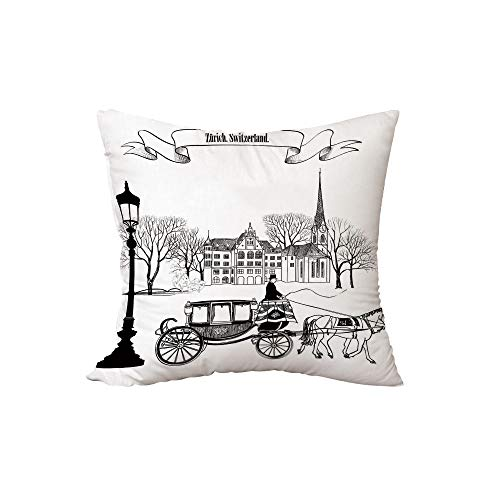 iPrint Polyester Throw Pillow Cushion,Sketchy,Old Street Scene Carriage Horse from Twenties Historical Northern Europe Theme,Black White,15.7x15.7Inches,for Sofa Bedroom Car Decorate