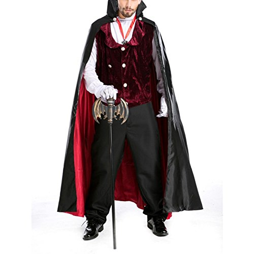 Jack The Ripper Costume Woman (LETSQK Men's Adult Halloween Party Cosplay Midnight Bloody Gothic Vampire Costumes Black)