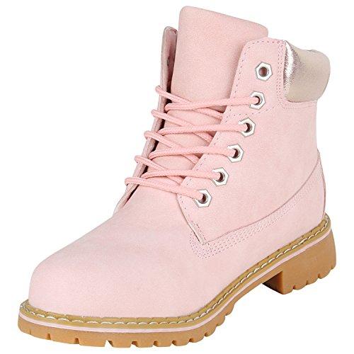Stiefelparadies Damen Stiefeletten Outdoor Worker Boots Leicht Gefütterte Schuhe Flandell Rosa Metallic