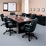 Global Total Office Boat Shaped 10' Conference Table with Slab Base - Mahogany - Mahogany