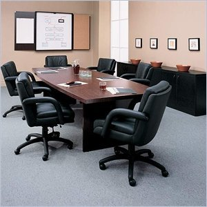 Global Total Office Boat Shaped 8' Conference Table with Slab Base - Mahogany - Mahogany by Global (Image #1)