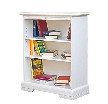 Libreria bassa bianco patinato 2 ripiani regolabili ...