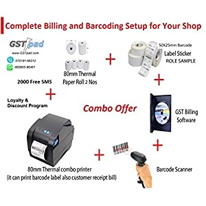 GSTpad Software Combo Receipt and Barcode 80 mm Printer; Barcode Scanner; Billing and Accounting Software; Thermal Receipt and Barcode Rolls; 2000 SMS