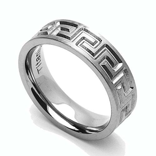 Titanium Greek Key Ring - 3