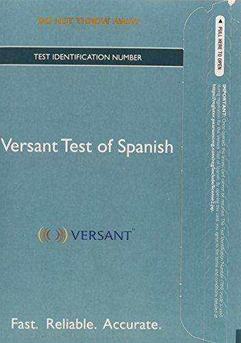 Versant Test of Spanish -- Access Card -- Higher Ed Edition (Versant Tests)