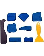 JZK Set van 9 STKS Siliconen kit Remover Scraper Tool, Grout Remover Tool, Caulk Afwerking Tool kit, Siliconen kitkit voor voor Badkamer Keuken Tegels waterdicht