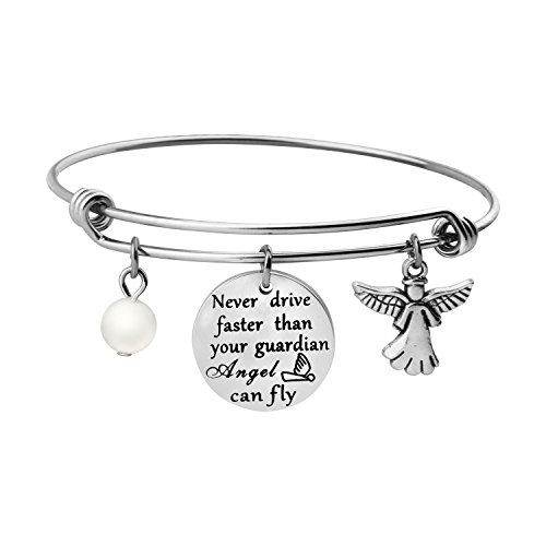 WUSUANED Never Drive Faster Than Your Guardian Angel Can Fly Keychain Bracelet New Driver Gift Sweet 16 Gift (Guardian Angel -