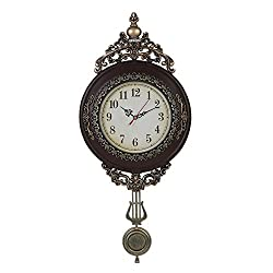 Giftgarden Classical Wall Clock Imitation Wood Color with Pendulum Clocks