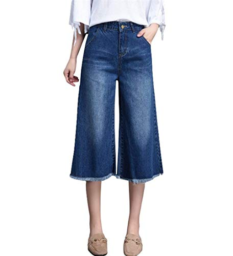Casuales Pierna Para Elegante Blau Pantalones Sin Vaqueros Flare Denim Elásticos Casual Y Kick Recto Mujer Ancha Mujeres Jeans ftv4xXwqB