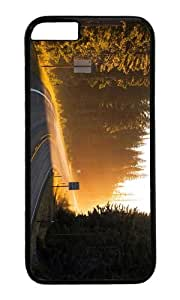 Road sun rays light forest trees spruce PC Black Hard Case for Apple iPhone 6(4.7 inch)