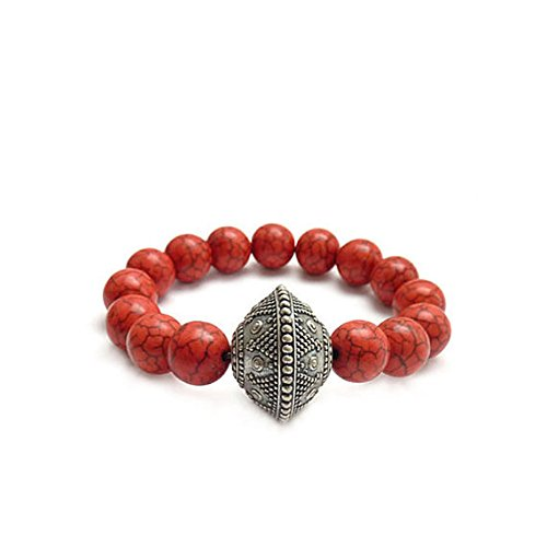 Red Boho Stacking Bracelet - Vintage Silver Lucite Bead - Fossil Stones - Handmade Beaded -