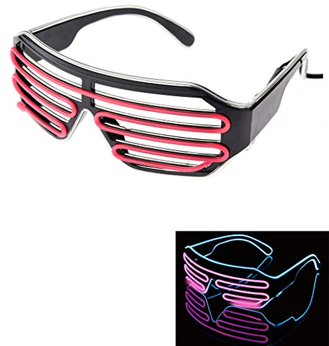 Neon Flashing Light LED Party Sunglasses Shutter Shades Retro Hip Hop Cyberpunk Design (Neon Blue and Pink) -