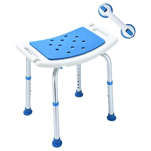 Latest Version! Upgraded EVA Paded Shower Stool Chair with Assist Grab Bar, Stool Transfer Bench SPA Bathroom Bathtub Chair No-Slip Adjustable 8 Height (White/Blue) ()