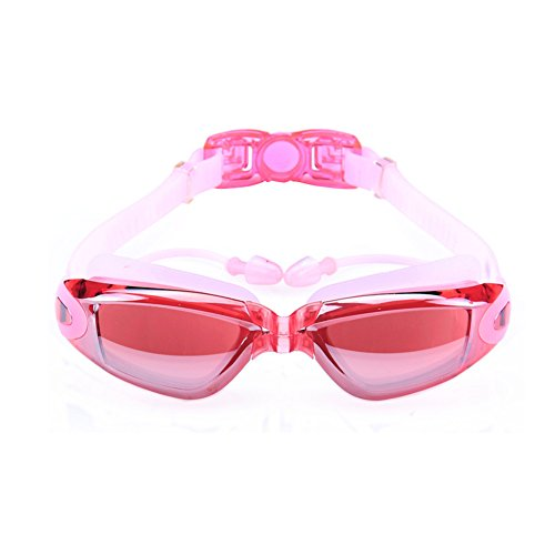 Swimming Goggles,Mirror Coated Lenses Anti-Fog Shatterproof UV Protection Swimming Glasses with Ear Plugs by Rekukos (Child Dolphin Costume Homemade)