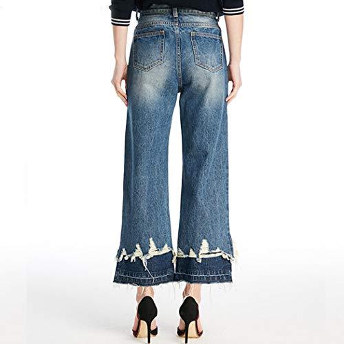 HANMAX Slim Bleu Jeans en Femme Pantalons Automne Large Haute Pants Casual Taille Denim Dchir aU8rpawxq