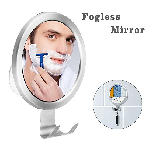 "Shower Mirror Fogless BUDGET & GOOD Bathroom Anti-fog Shave Mirror for Men with Heavy Duty Suction Wall-mounted No Fog Makeup Mirror for Squeegee and Razor, 5"" x - Mens Mirrors"