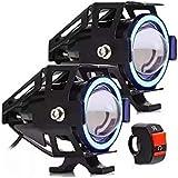 2X Farol Milha Moto Angel Eye U7 Led Auxiliar 30w Neblina