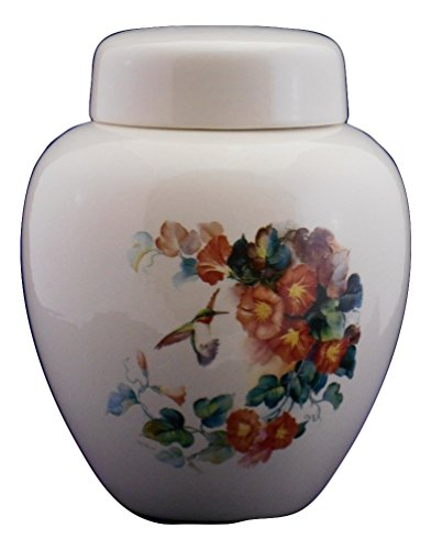 Hummingbird with Orange Trumpet Vine - Flower Funeral Urn - Cremation Urn for Human Ashes - Hand Made Pottery