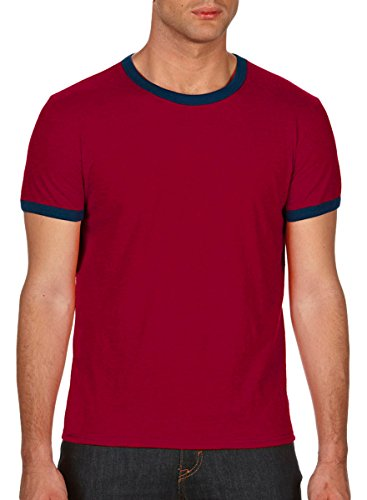 Anvil Adult Lightweight Ringer T-Shirt, Independence Red/Nvy, Medium