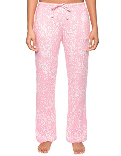 Noble Mount Women's Waffle Knit Thermal Lounge Pants - Leopard Pink/Grey - Large (Leopard Pants Lounge)