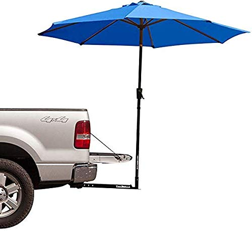 Tailbrella Blue Tailgate Hitch Umbrella Canopy for Truck SUV Tailgater. 9FT Large Water-Resistant Tailgating Tents for Outdoor Camping, Beach, Travel, Hunting. EZ Pop Up Umbrellas for Shade