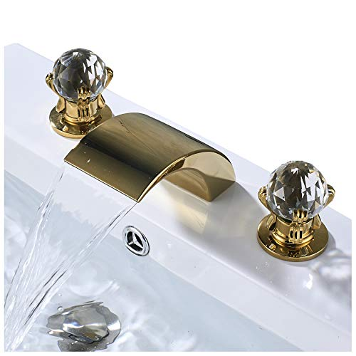 Rozin Deck Mounted 3 Holes Bathroom Sink Faucet Waterfall Spout Baisn Mixer Tap Gold Polished