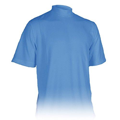 Monterey Club Mens Dry Swing Vertical Stripe Texture Mock Neck Shirt #3306 (Snorkel Blue, - Golf Performance Mock Shirt