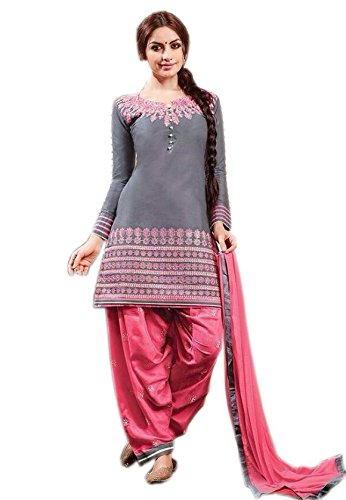 2b5f40b683 HEYDAA GREY AND PEACH COLOR COTTON UNSTITCHED SALWAR SUIT: Amazon.in:  Clothing & Accessories