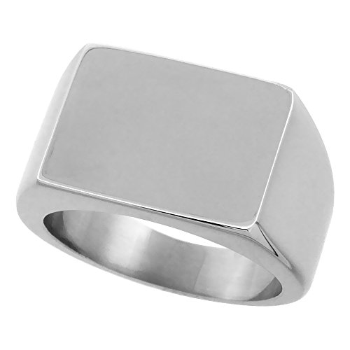 Surgical Stainless Steel Rectangular Signet Ring Solid Back Flawless Finish 1/2 inch, size (Mens Solid Back Signet Ring)