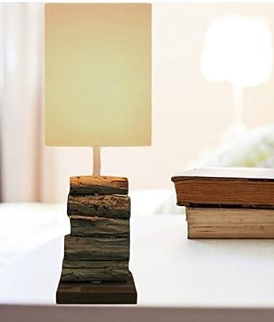 Tischlampe Holz Treibholz Schwemmholz Lampe Stein weiß Holzlampe Nachttischlampe