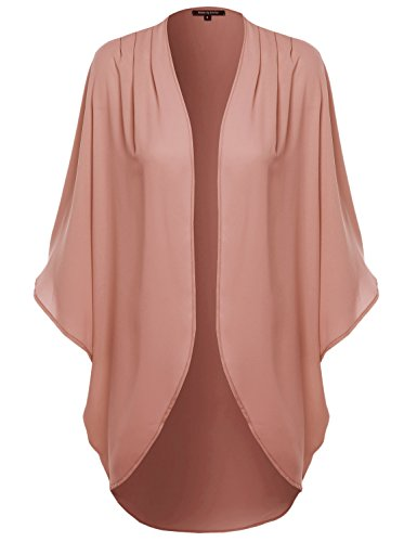 Made by Emma Solid Short Sleeve Open-Front Kimono Style Cardigan Mauve 3XL by Made by Emma