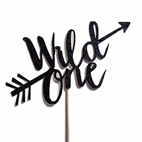 Black Glitter Wild One Cake Topper, Black Boho Tribal First Birthday, 1st Birthday Decorations, Arrows, Boys by Paper & Parties
