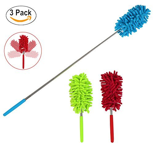 Maguu Long-Reach Washable Dusting Brush with Telescoping Pole,Retractable Extendable Flexible Microfiber Duster for Home Car and Office(set of 3) (Long Duster Reach)