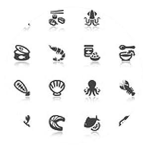 alfombrilla de ratón iconos planos mariscos con la reflexión - ronda - 20cm