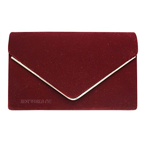 Party Wocharm Bag Clutch Ladies Prom Clutch Bridal Burgundy HandBags Faux Evening Girly Bag Metallic Frame Wedding Envelope Suede PYqxfrPw